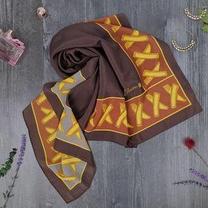 VTG Paloma Picasso Silk XXX scarf brown gold